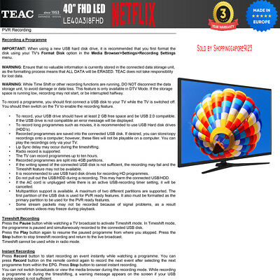 "TEAC 40"" Inch FHD SMART TV Netflix Youtube Freevie Made In Europe 3Year Warranty 9"