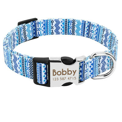 Unique Soft Nylon Personalized Dog Collar for Small Large Dogs Engrave Nameplate 5