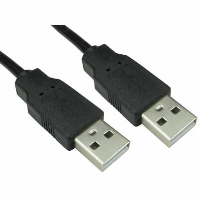 1m USB Cable A Male To A Male Plug Shielded High Speed 2.0 28awg Lead Black 2