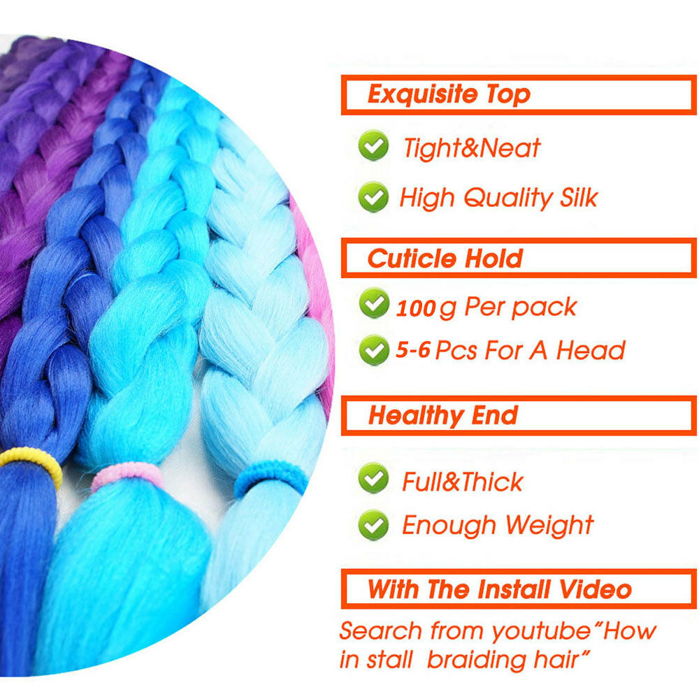 "5 Bundles 24"" 100g Ombre Xpression Jumbo Braiding Afro Hair Extensions as human 3"