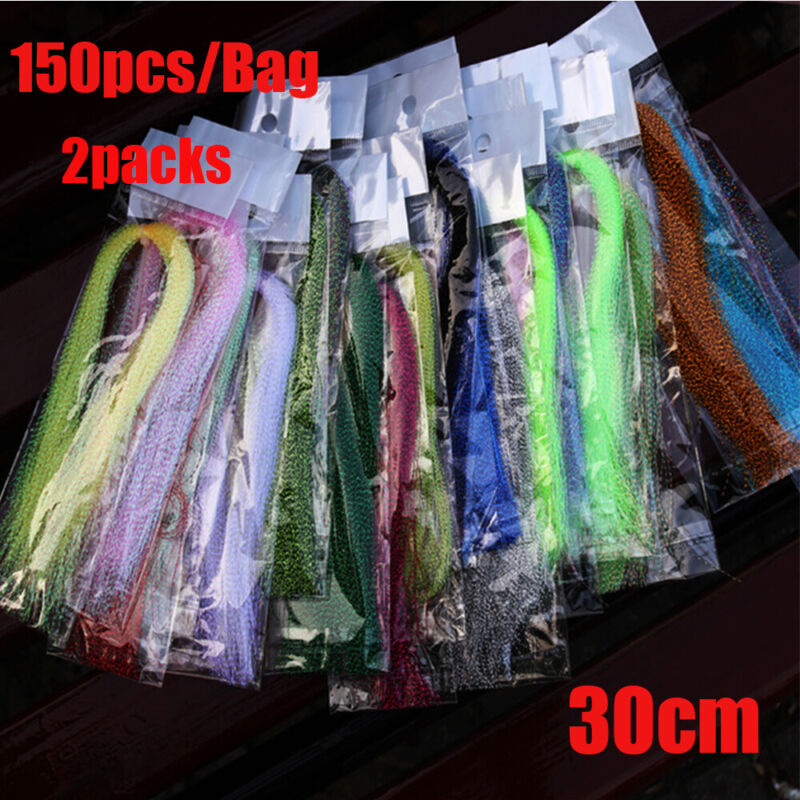 300Pcs 19 Colors Useful Flashabou Crystal Tinsel Flash Fly Tying Materials 3