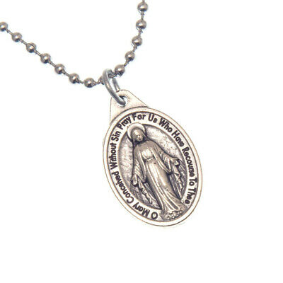 "Miraculous Medal Virgin Mary Pendant Necklace 24"" Chain Italy Silver Tone Alloy 3"