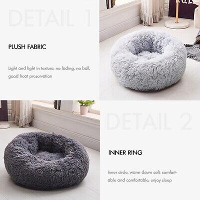 Large Pet Bed Luxury Shag Warm Fluffy Dog Bed Nest Cat Mattress Fur Donut Pad UK 2