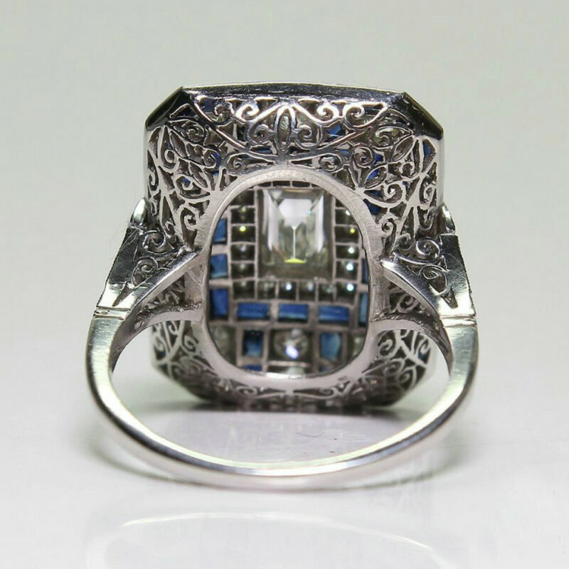 Antique Art Deco Large Jewelry Sterling Silver Blue Sapphire & Diamond Ring 5
