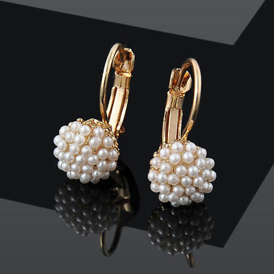 New 1 Pair Elegant Women Crystal Rhinestone Pearl Ear Stud Fashion Earrings Gift 12