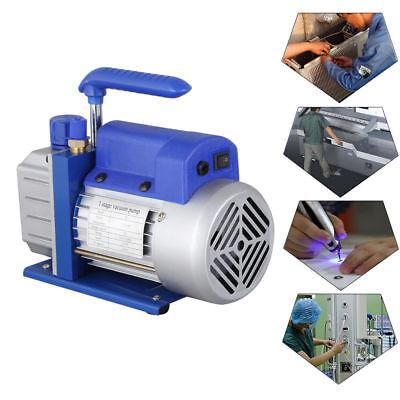 Single Stage Vacuum Pump Rotary Vane 2.5CFM 1/4HP Deep HVAC AC Air Tool Blue New 5