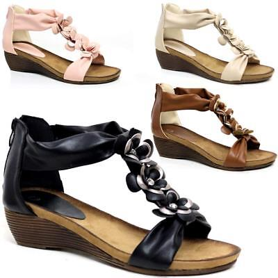 Ladies Wedge Sandals Womens Heels New Fancy Summer Dress Party Beach Shoes Size 12