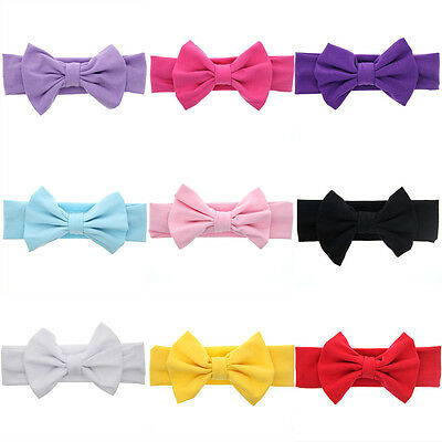 Girls Kids Baby Cotton Bow Hairband Headband Sweet Turban Knot Head Wrap 2