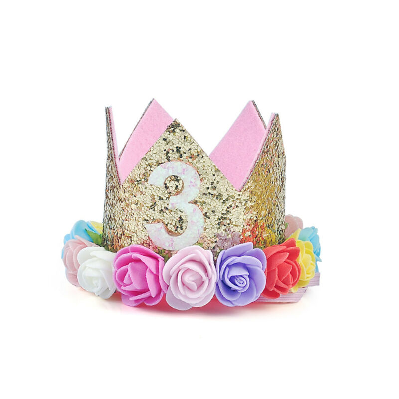 First Birthday Party Hat Decor Hair Accessory Baby Girl Flower Princess Crown 9