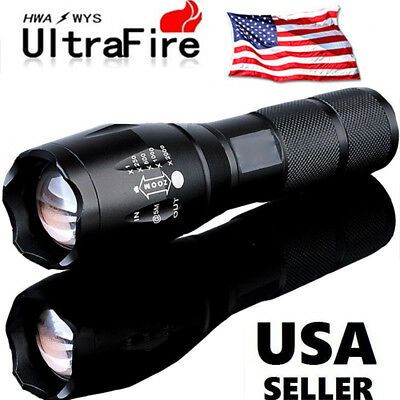 Ultrafire Tactical 15000LM T6 Power LED Zoomable Flashlight + 18650&Charger USA