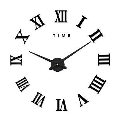 DIY 3D Wall Clock Roman Numerals Large Mirrors Surface Luxury Big Art Clock 7