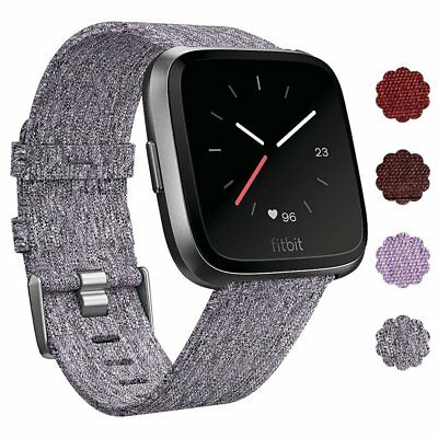 Woven Fabric Strap Wrist Band for Fitbit Versa Tracker w/ Stainless Metal Clasp 4
