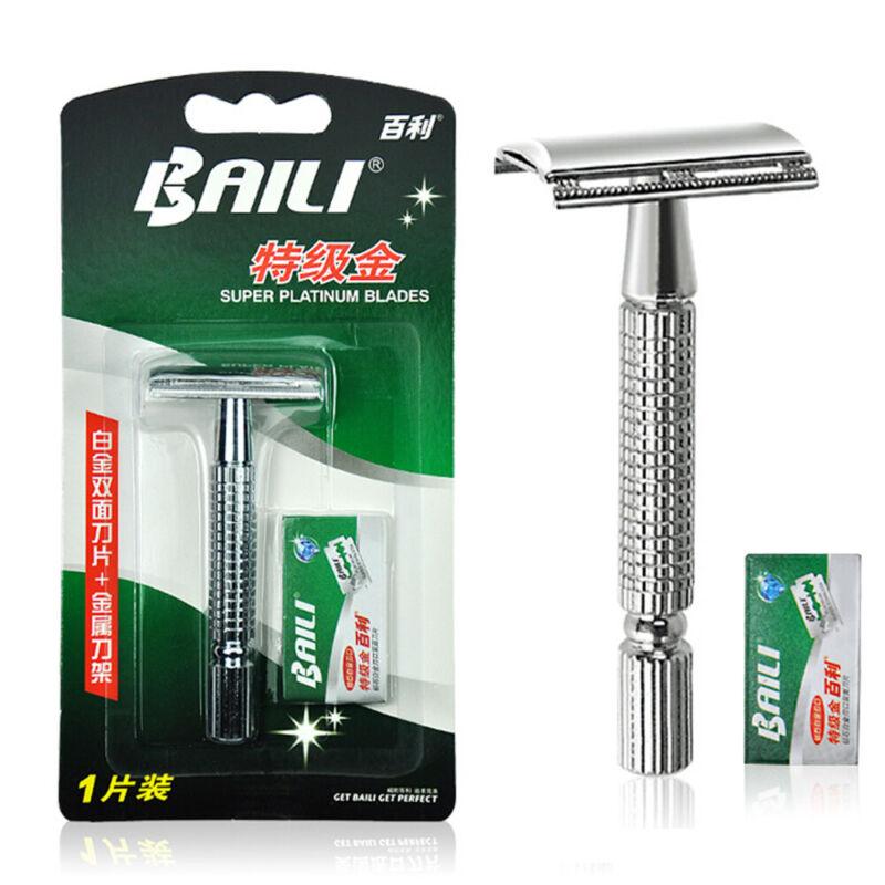 Men's Traditional Classic Double Edge Shaving Safety Razor Shaver + Blades- 3