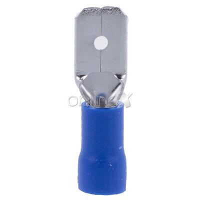 50x Terminales Conectores Faston Hembra 6,3mm Preaislado Azul a1184 16-14