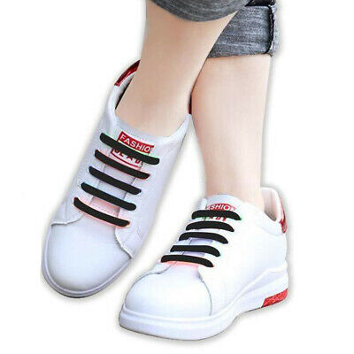 Silicone Shoelaces Elastic Shoe Lace Easy No Tie Kids Adult Lazy Trainers Rubber 8