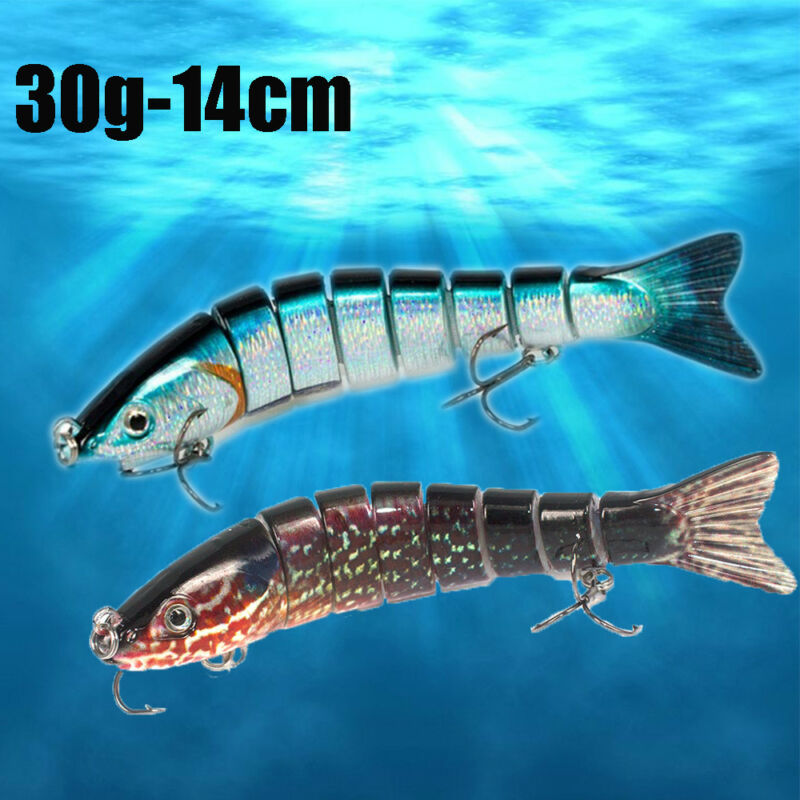 8 Sections 30g Multi Jointed Fishing Lure Minnow Crank Baits Bass Swimbait Gear 4