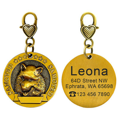 Personalised Dog Tags 18 Breeds 3D Patterns Pet Dog Name ID Collar Free Engraved 6