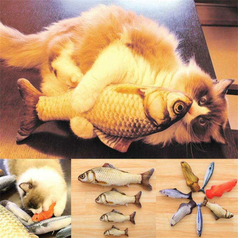 Pet Cat Play Fish Shape Mint Catnip Kitten Chewing Gifts Interactive Scratch Toy 3