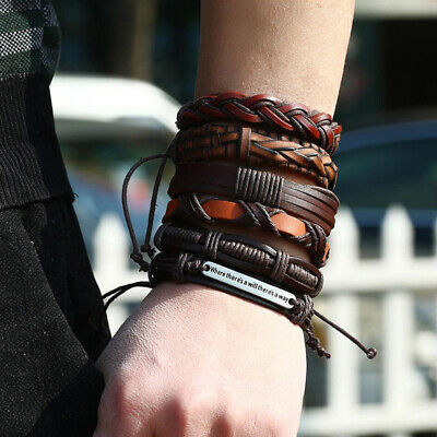 6pcs Fashion Men's Leather Wrap Braided Wristband Cuff Punk Wide Bracelet Bangle 3