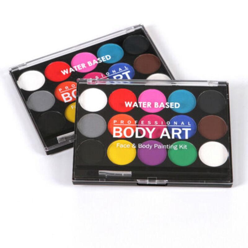 Face & Body Paint Set 15 Colours Palettes Pallete Face Painting Art Make Up Kit 7