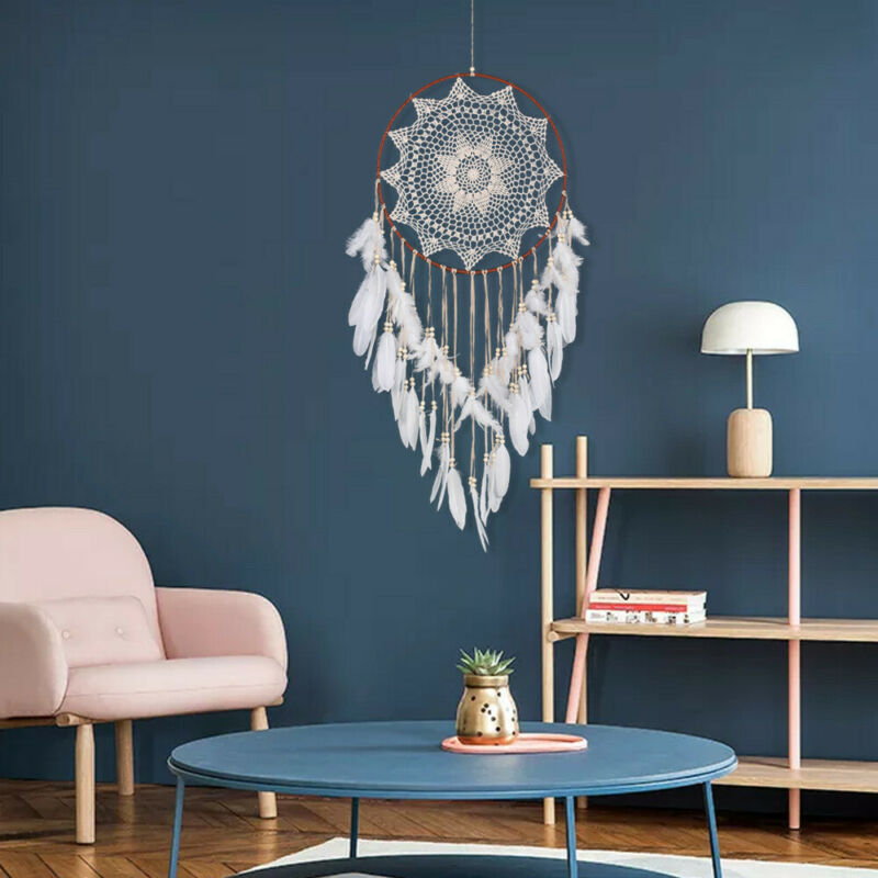 43 inch Large Handmade Dream Catcher With White Feathers Bead Kids Room Decor US 4