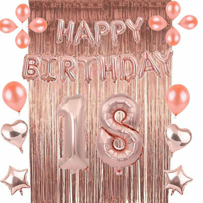 Rose Gold 18/21st/30/40/50 Latex Number Happy Birthday Balloons Party Curtain 3