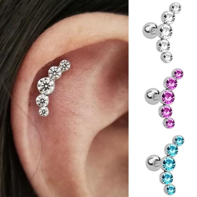 16g Crystal Stars Ear Climber Cartilage Helix Stud Ring Bar Piercing Earring NEW 3