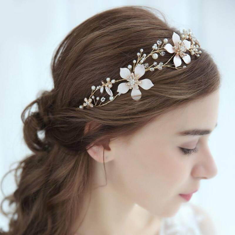 Chic Wedding Headband Bridal Headpieces Long Pearls Flower Gold Hair Accessories 2