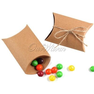 100x Wedding Candy Box Gift Boxes Paper Kraft Pillow Shape Bag Event Party Favor 2