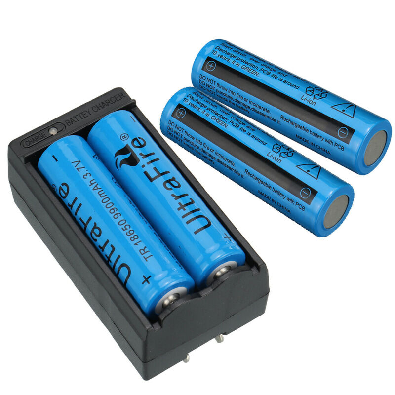 4PC UltraFire 18650 9900mAh Battery 3.7v Li-ion Rechargeable Batteries+Charger 4