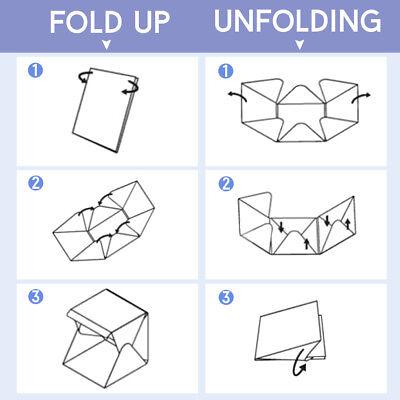 Photo Studio MINI LED Lighting Tent Kit Portable Folding Light Box 6pcs Backdrop 9