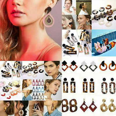HOT Acrylic Statement Tortoise Shell Earrings Fashion Hoop Resin Dangle Earrings 2