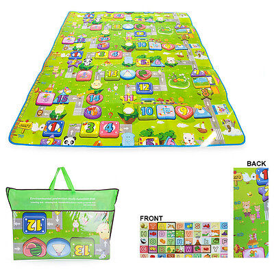 2 Side Kids Baby Crawling Educational Game Play Mat Soft Foam Picnic Carpet