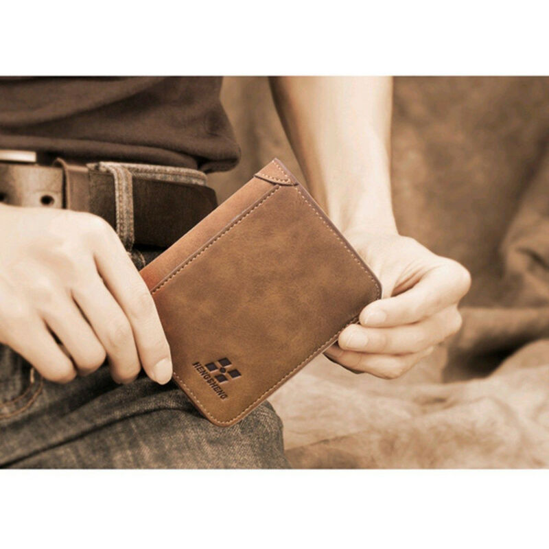 Mens PU Leather Wallet Pocket Coin Card Money Holder Clutch Bifold Slim Purse