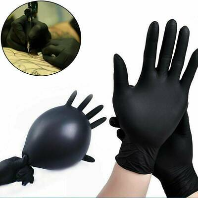 100Pcs Rubber Comfortable Disposable Mechanic Nitrile Gloves Black Exam S/M/L/XL 6