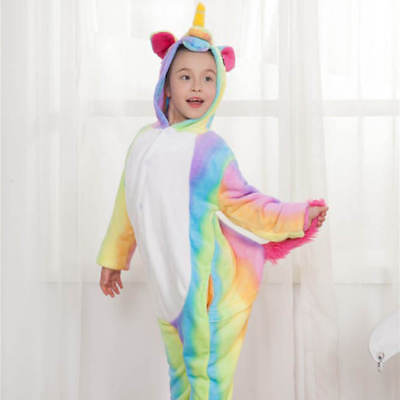 Rainbow Unicorn Kids Kigurumi Animal Cosplay Costume Onesie01 Pajamas Sleepwear 7