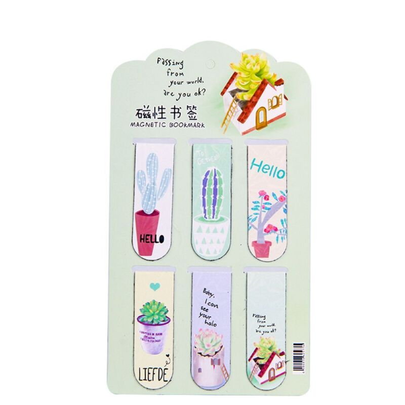 6PCS Plant Cactus Magnetic Bookmark Page Marker School Office Paper Clips Hot