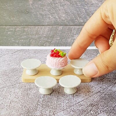 5x Cake Stand Display Bakery Dollhouse Miniatures White Ceramic Supply Barbie 2