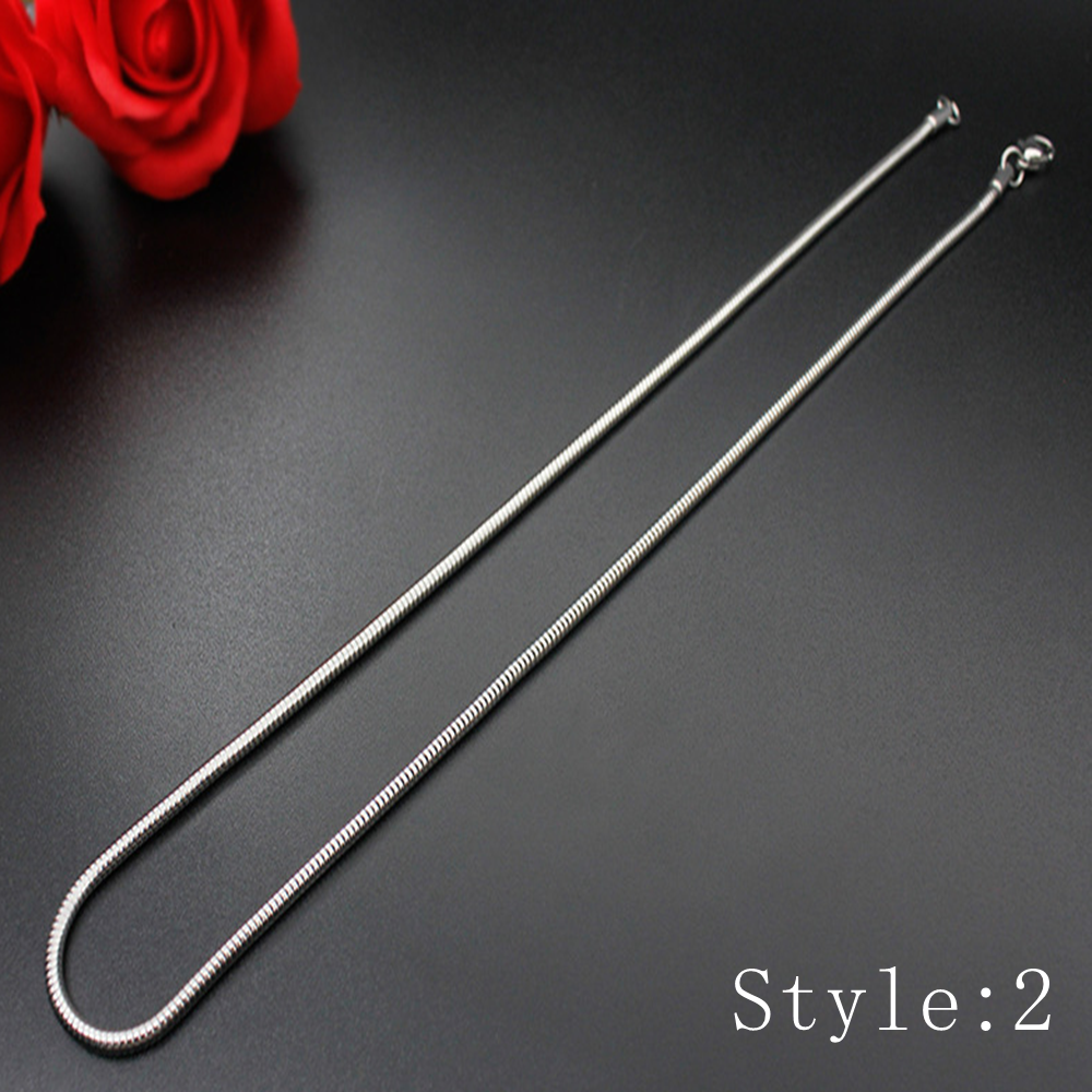 Gift Man Women Fashion 316L Stainless Steel 2mm-5mm Silver Chain Necklace 3