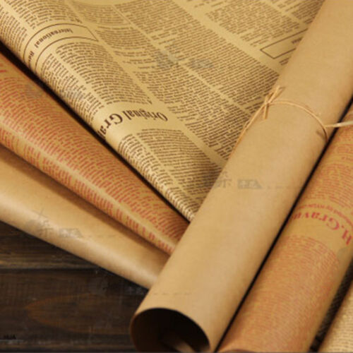 Vintage Newspaper Diy Gift Wrapping Paper Flower Bouquet Craft Paper