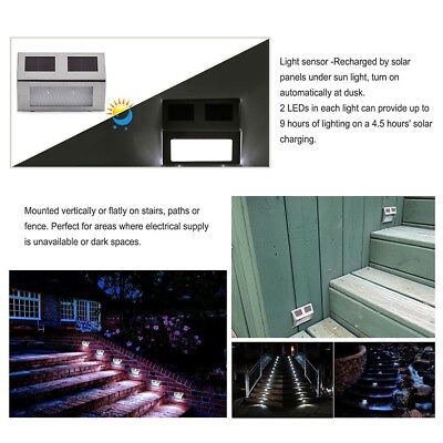9X Super Bright Solar Powered Door Fence Wall Lights Led Outdoor Garden Lighting 5