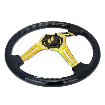 Black Universal 14inch Deep Dish 6-Hole ABS Steering Wheel Neochrome Spoke 350mm