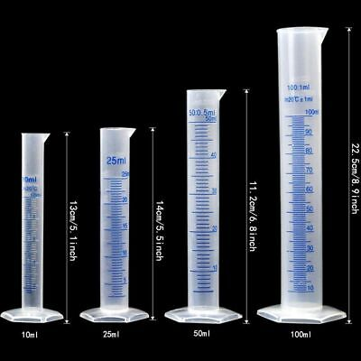 Lab Plasticware Set,4 Clear Plastic Graduated Cylinders with 5 Beakers +1 Brush 5