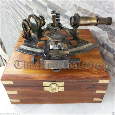 Brass Collectible German Astrolabe Marine Nautical Sextant & Wooden Box Gift 3