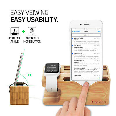 Spigen® Apple Watch and iPhone Stand [S370] Bamboo Charging Dock Station 3