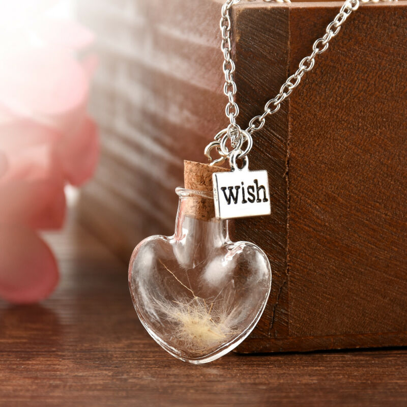 Wish Glass Real Dandelion Seeds In Glass Wish Bottle Chain Necklace Pendant 5