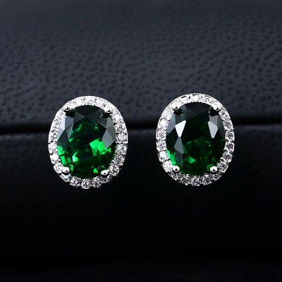 4ct CZ Stud Earrings OVAL Halo Simulated sapphire emerald amethyst ruby gift 9