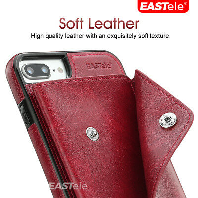 NEW iPhone XS MAX XR X 7 8 Plus Luxury Leather Wallet Card Shockproof Case Cover 9