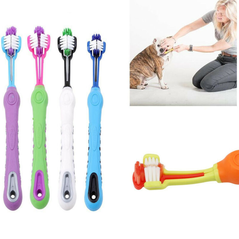 New Three Sided Pet Cleaning Brush Dog ToothBrush Teeth Care Dog Cat Cleaning U 5