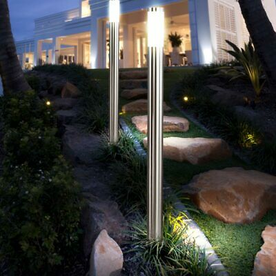 4 x EDELSTAHL Außen Garten Steh Leuchten Stand Lampen Haus Nacht Licht Strahler
